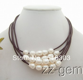 Wholesale 5 Pieces 9x11 MM Grey Pearl Necklace