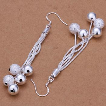 2016 New Fashion Jewelry Silver Five Lines Sand Light Bead Earrings Ear Studs For Women Gift KQS
