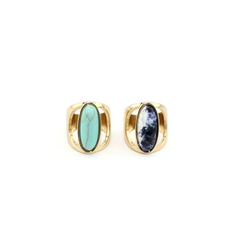 2017 Original design European and American Fashion noble ring alloy oval green blue stone inlays temperament ring