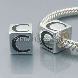 925 Sterling Silver C Charm Beads Compatible With European DIY Style Bracelet Jewelry Making